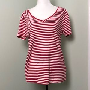 Red And White Stripe Cotton Tshirt Short Sleeve